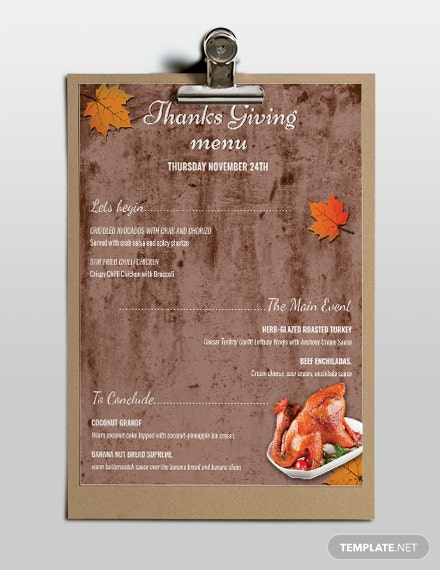 photo relating to Printable Thanksgiving Menu titled Cost-free Printable Thanksgiving Menu Template - Term PSD