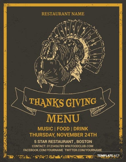 Thanksgiving Restaurant Party Menu Template