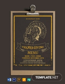 Thanksgiving Restaurant Party Menu Template