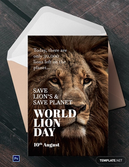 Free World Lion Day Greeting Card