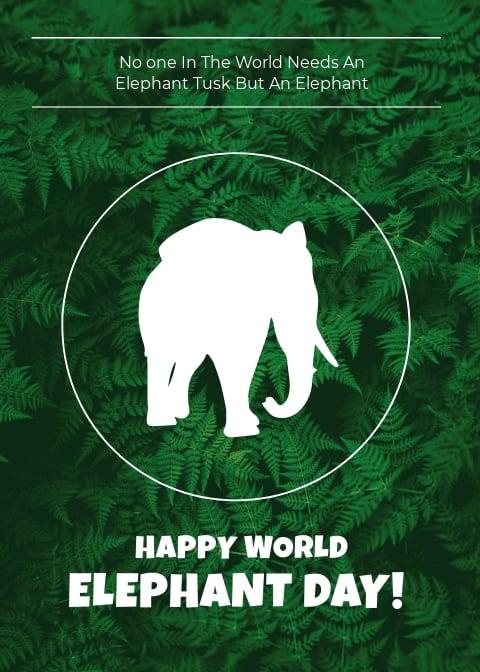 World Elephant Day Card Template