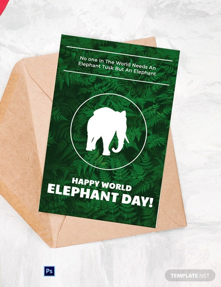 Free World Elephant Day Card