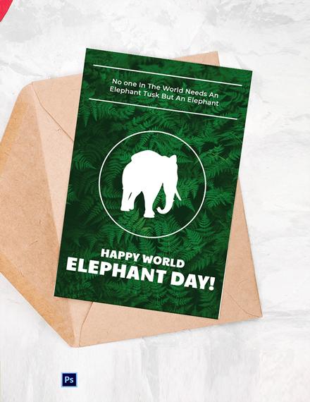 Free World Elephant Day Card