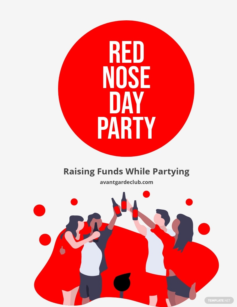 Red Nose Day Party Flyer Template.jpe