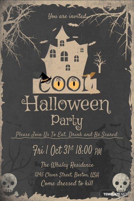 Cool Halloween Party Invitation Template Free Templates - Halloween party invitation template