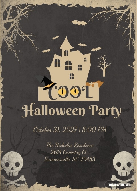 Cool Halloween Party Invitation Template