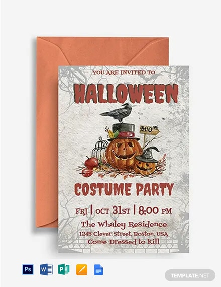 Halloween Costume Party Invitation Template