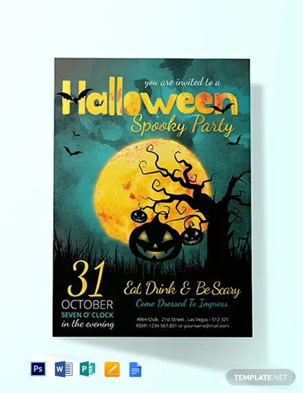 Free Spooky Halloween Party Invitation Template