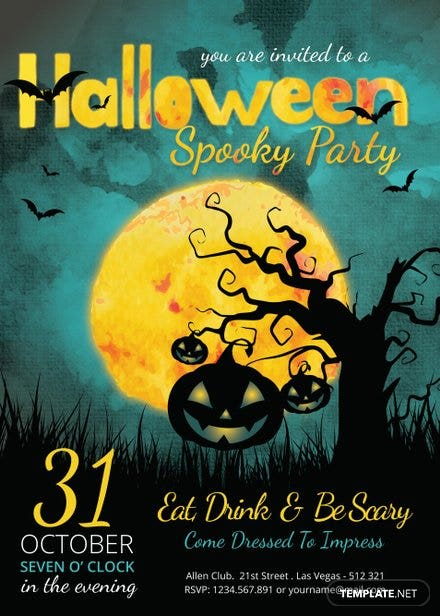 Spooky Halloween Party Invitation Template | Free Templates