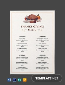 Free Thanksgiving Dinner Party Menu Template
