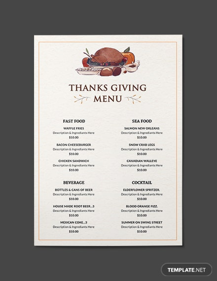 free simple thanksgiving menu template in adobe photoshop