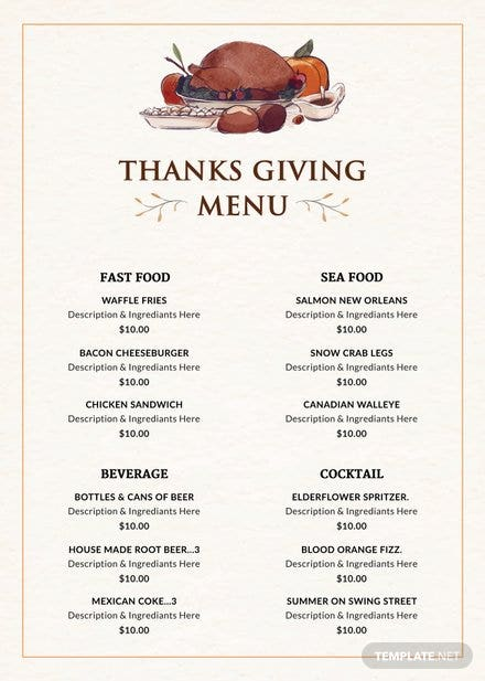 Thanksgiving Dinner Party Menu Template
