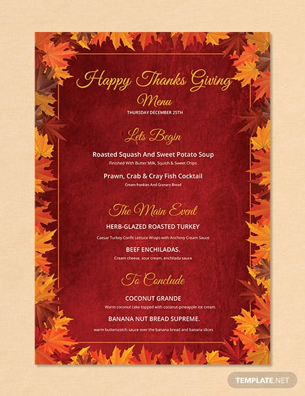 Free Happy Thanksgiving Menu Template