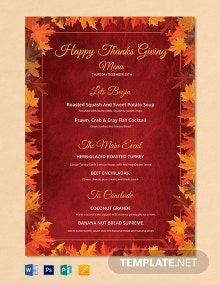 Happy Thanksgiving Menu Template