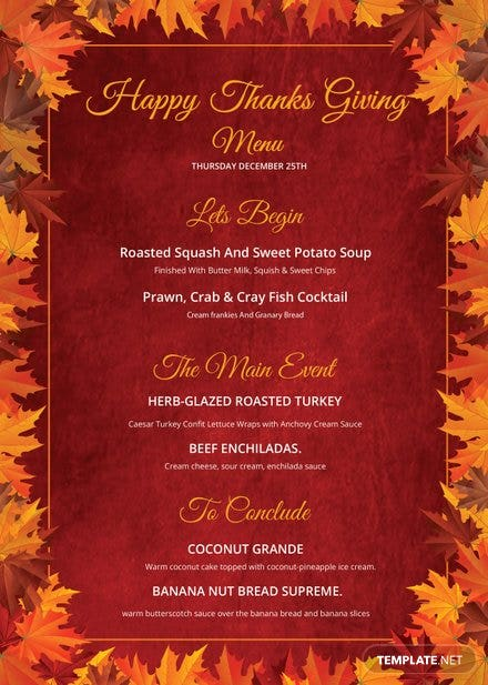 Happy Thanksgiving Menu Template