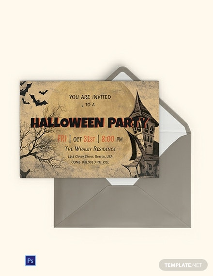 Free Typography Halloween Party Invitation