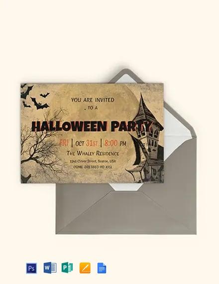 Free Typography Halloween Party Invitation