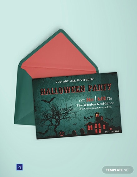 Free Haunted House Halloween Party Invitation