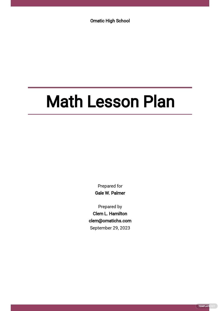 High School Math Lesson Plan Template.jpe