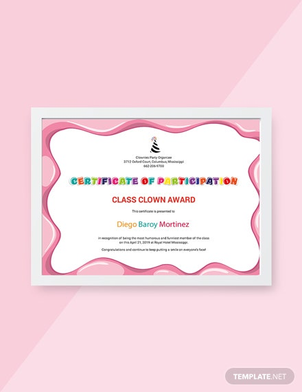 Free Funny Participation Certificate Template
