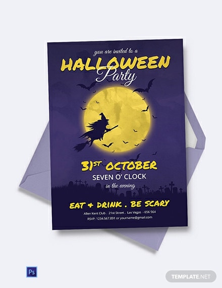 Free Full Moon Halloween Party Invitation Template