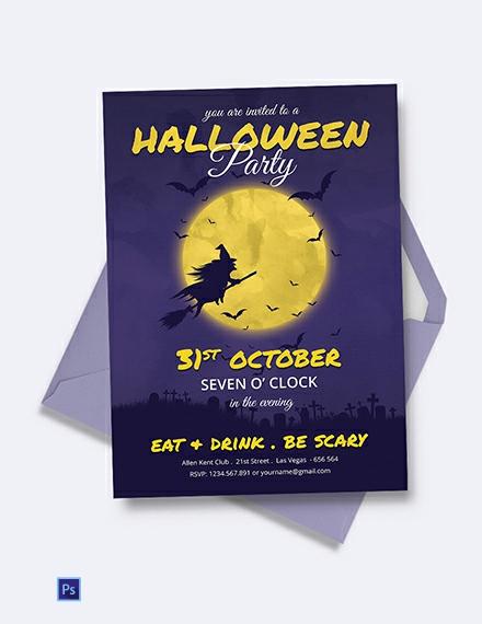 Free Full Moon Halloween Party Invitation Template