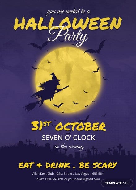 cool halloween party invitation template in adobe photoshop