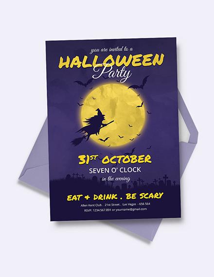 Full Moon Halloween Party Invitation Template