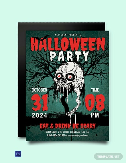 free scary halloween party invitation template