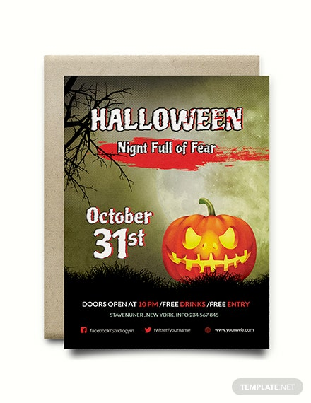 free fright night halloween invitation template download 344