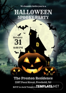 Free Halloween Spooky Party Invitation