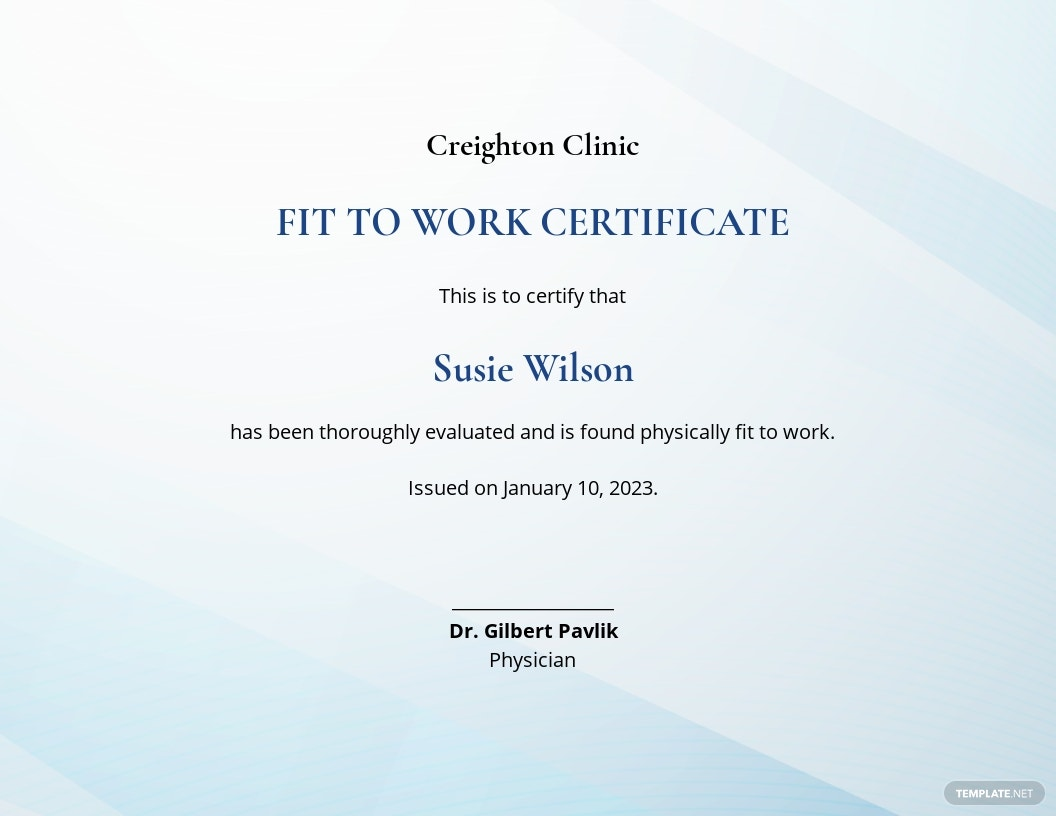 Fit to Work Certificate Template