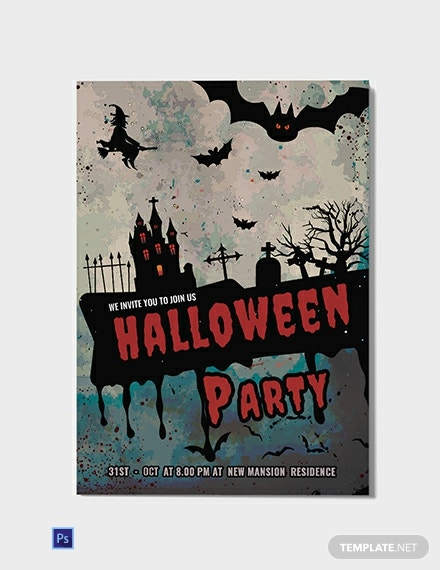 Free Dark And Red Halloween Invitation