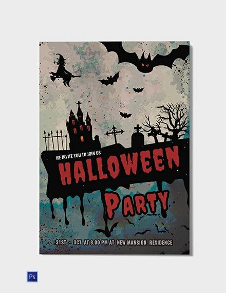 Free Dark And Red Halloween Invitation