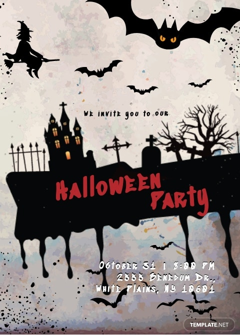 Dark And Red Halloween Invitation Template