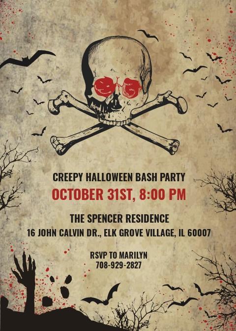 Creepy Halloween Invitation Template