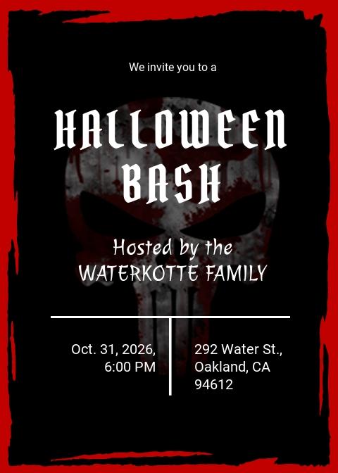 Halloween Bash Invitation Sample