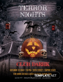 FREE Halloween Terror Night Flyer Template