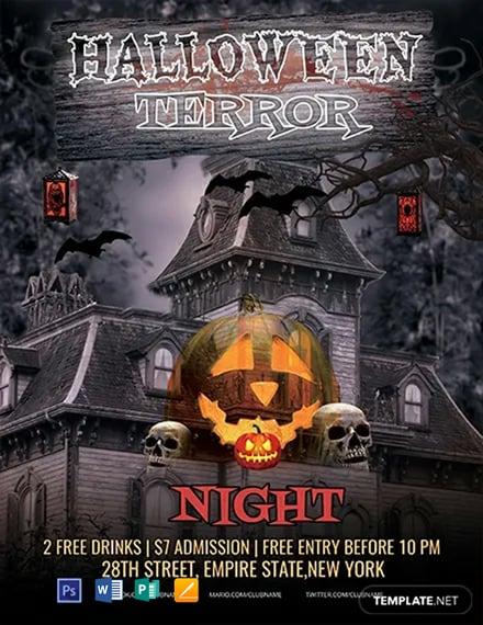 FREE Halloween Terror Night Flyer Template