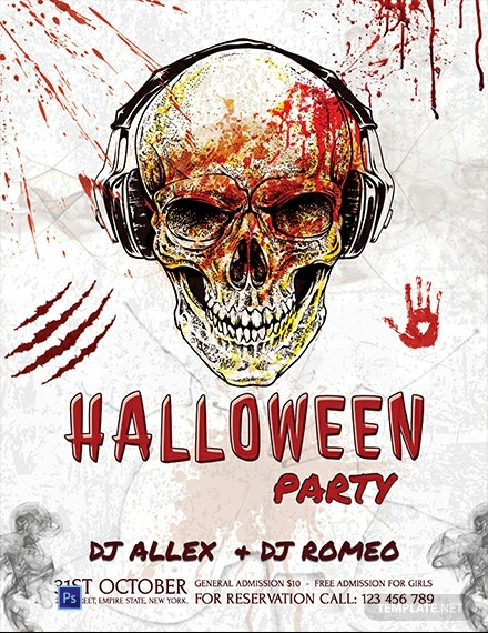 Free Halloween Skull Flyer Template