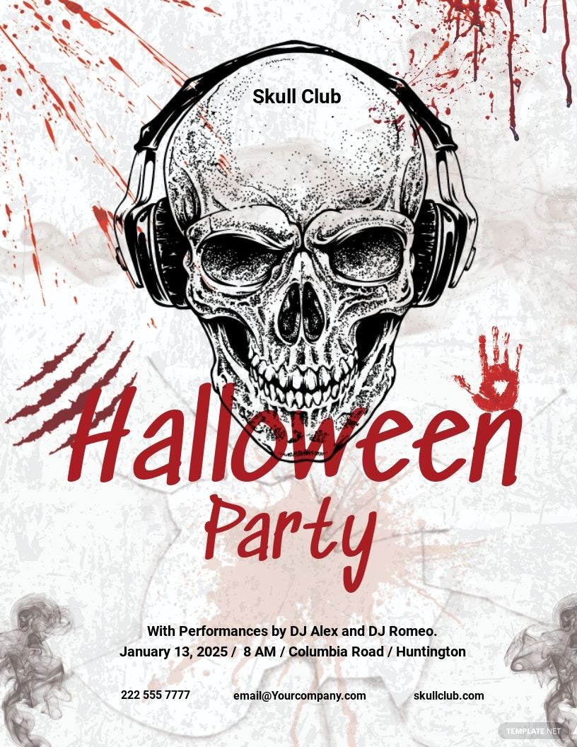 Free Halloween Skull Flyer Template.jpe