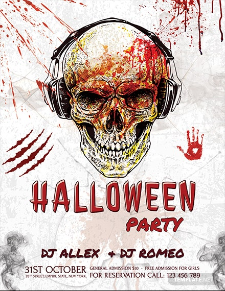 halloween skull flyer template 1x