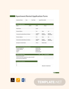 Free Apartment Rental Application Form Template