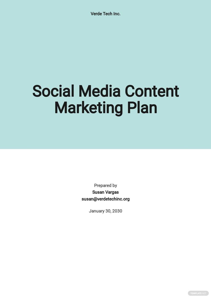 Social Media Content Marketing Plan Template