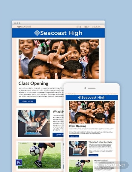 free high school newsletter template 440x570 1