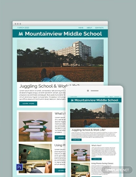 free middle school newsletter template 440x570 1