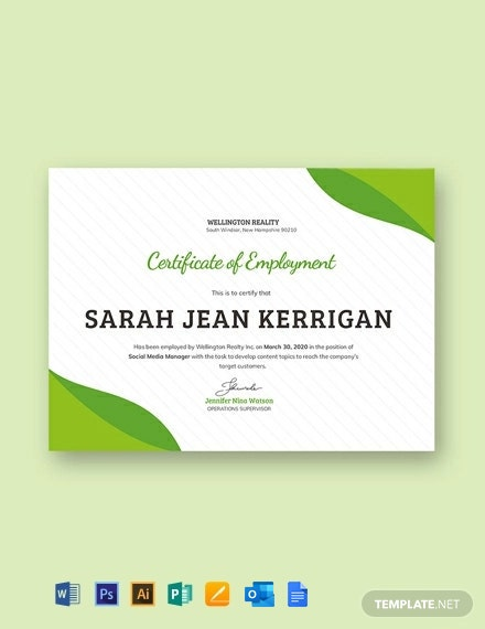 Free Sample Certificate of Employment Template