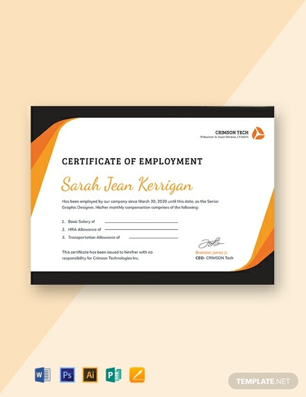 Free Certificate of Employment with Compensation