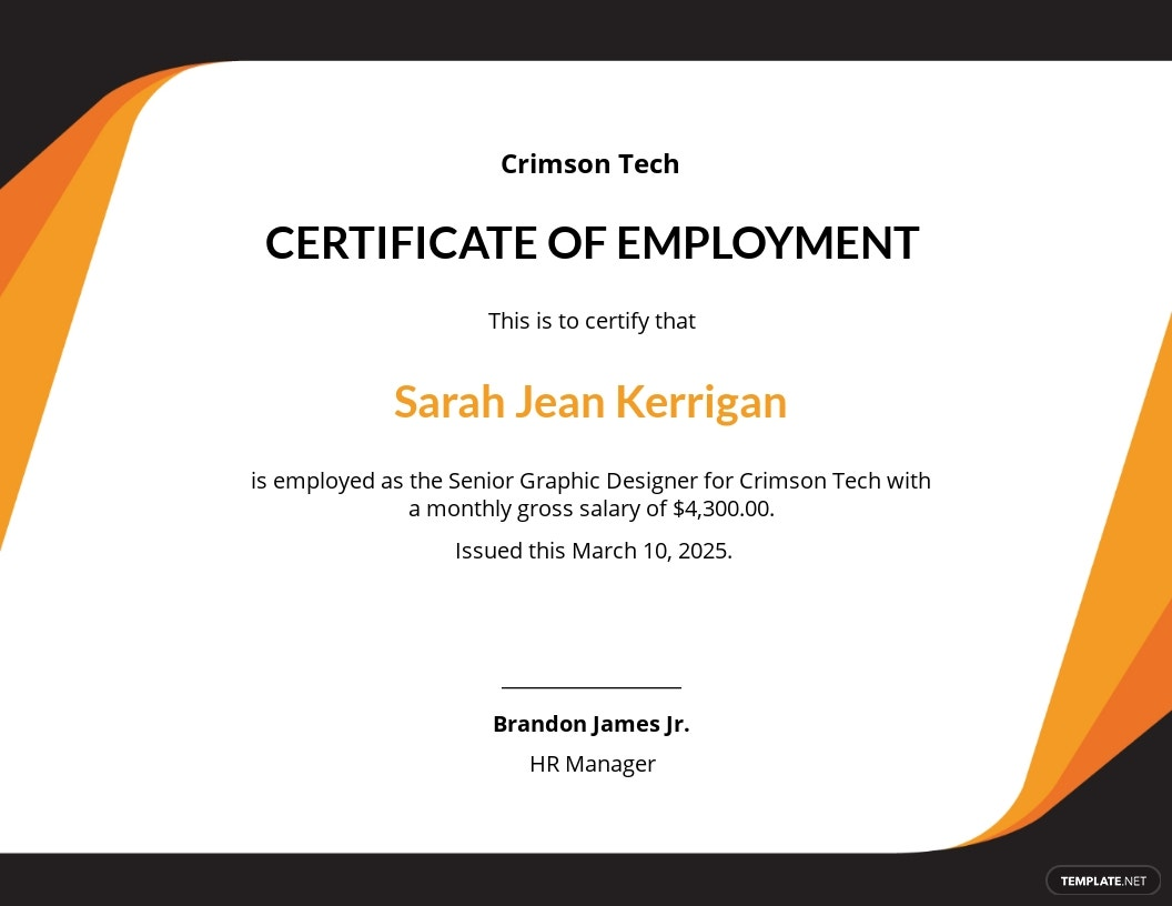 Free Certificate of Employment with Compensation.jpe
