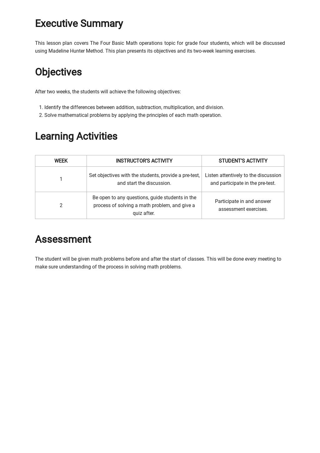 Madeline Hunter Math Lesson Plan Template 1.jpe